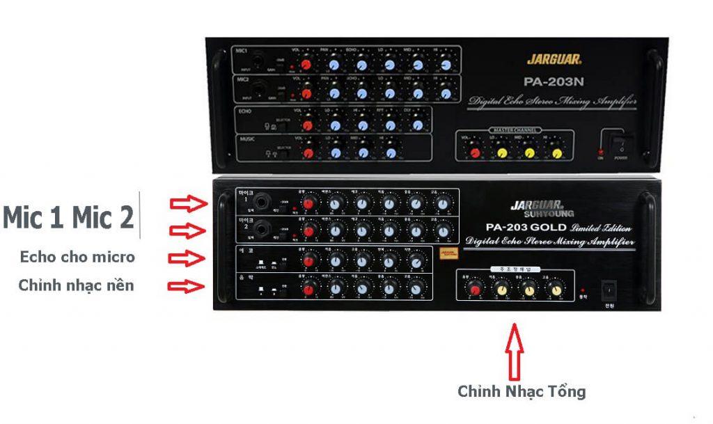 Vị trí các jack micro và núm điều chỉnh trên amply