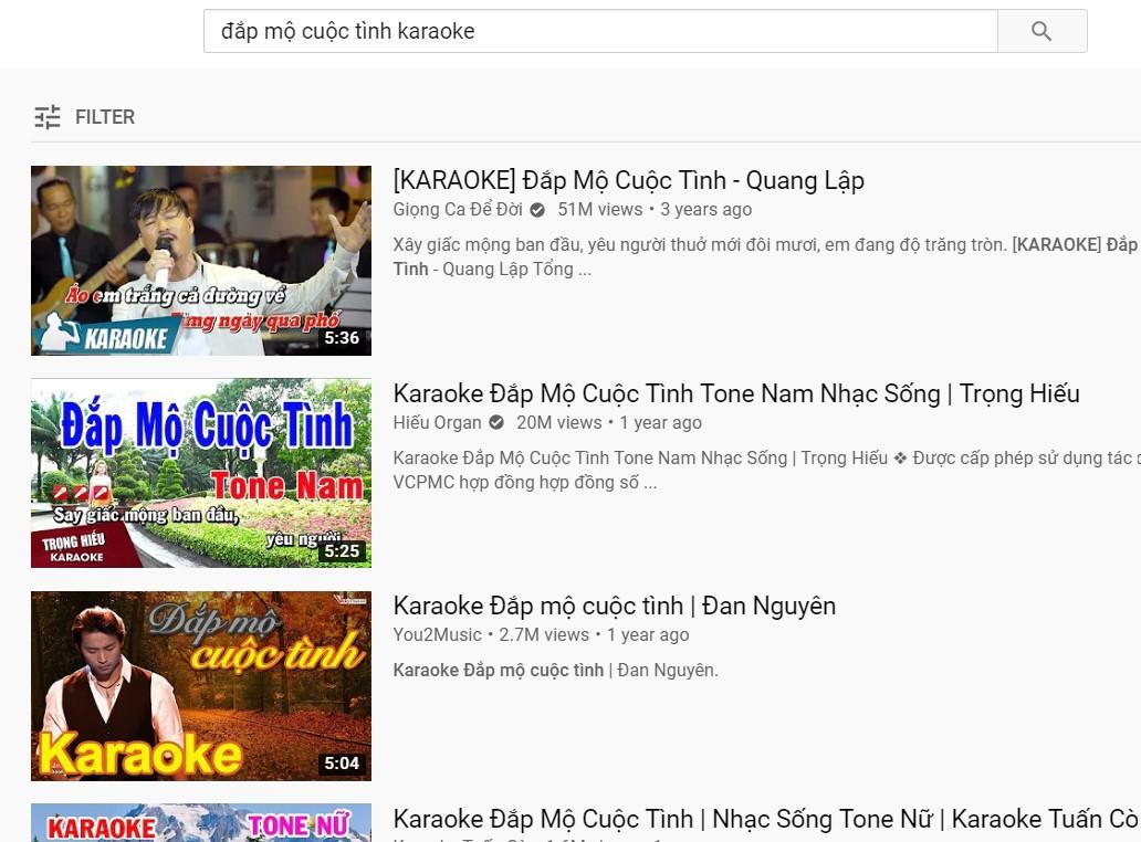Cách tìm bài hát karaoke trên Youtube