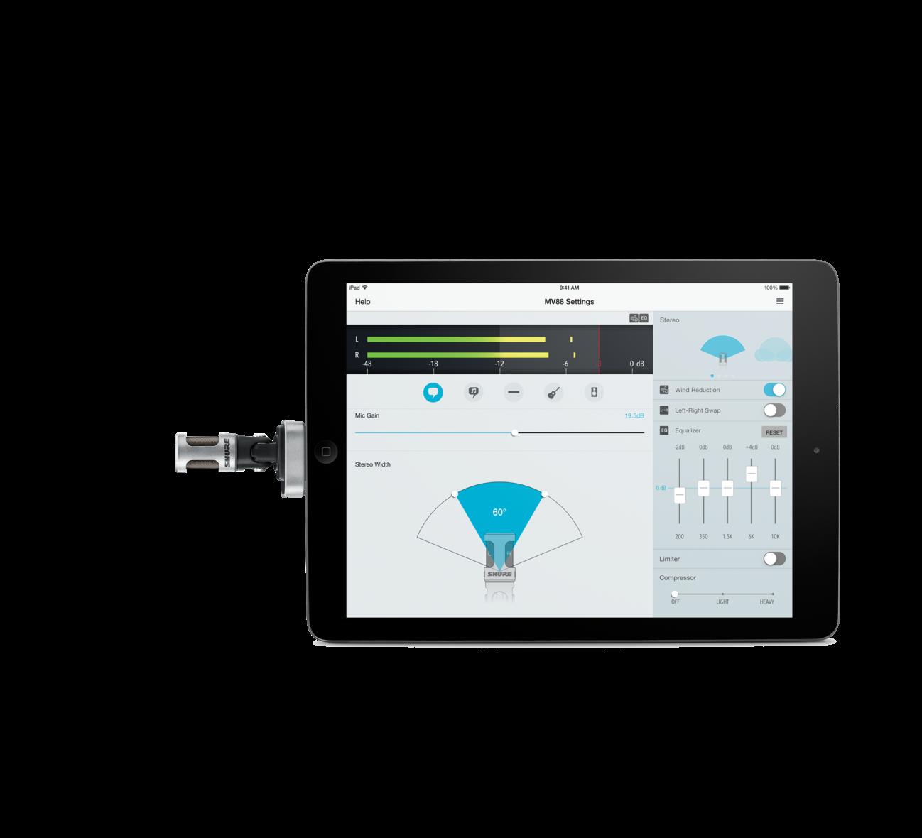 Micro livestream Shure MV88 cho iPad