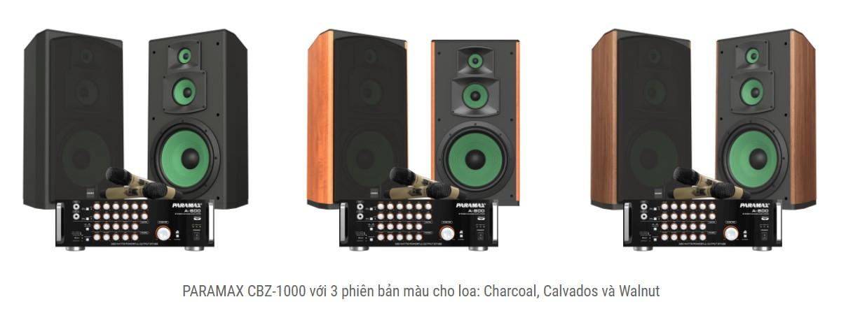 Dàn karaoke Paramax CBZ-1000 co 3 mau sac để lựa chọn