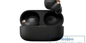 Hình ảnh render cho thấy tai nghe true wireless Sony cùng với hộp sạc của nó