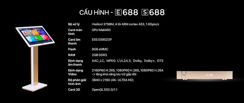 Đầu karaoke liền màn hình BTE E688 có cấu hình mạnh mẽ