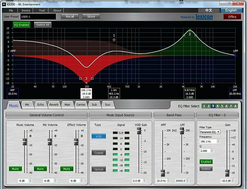 Phần mềm chỉnh JBL KX200 trên máy tính