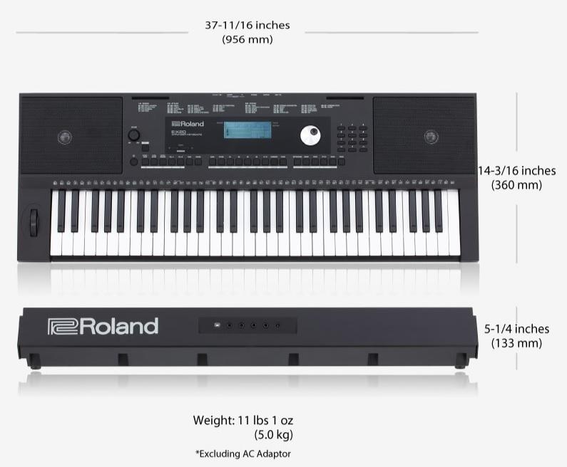 Kích thước đàn Roland EX-20A