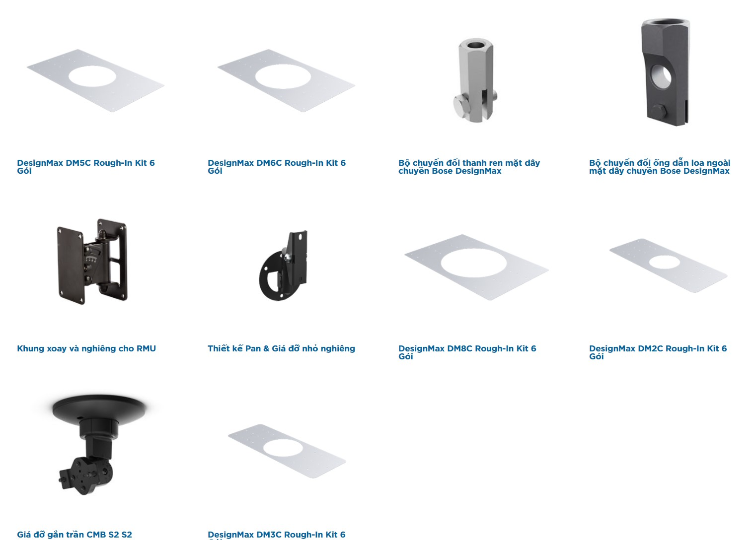 Các phụ kiện của dòng loa âm trần Bose DesignMax
