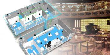 Hệ thống âm thanh quán cafe có piano và nhạc cụ